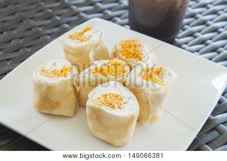 dessert is cake thai sweetmeat roll delicious on a table