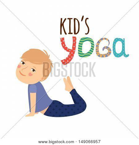 Yoga kids isolated logo design with boy vector illustration