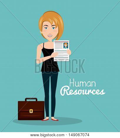 girl portfolio cv human resources vector illustration
