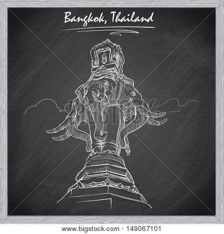 Statue of Elephant in Bangkok. Sketch imitating chalk drawing on a blackboard. Sketch is isolated on a separate layer. EPS10 vector illustration.
