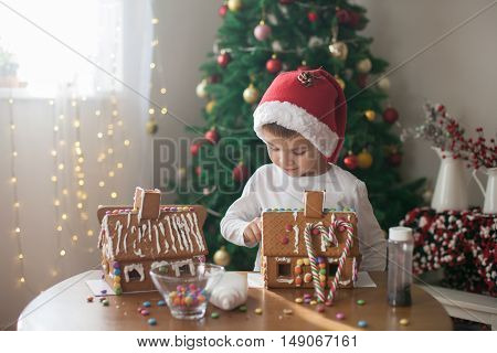 Cute Little Boy, Making Gingerbread Cookies House For Christmas