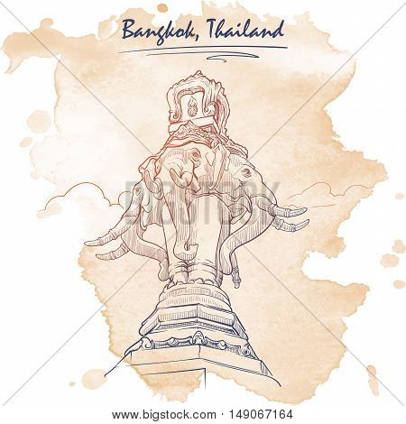 Statue of Elephant in Bangkok. Travel sketchbook picture. Architectural drawing with a grunge background on a separate layer. EPS10 vector illustration.