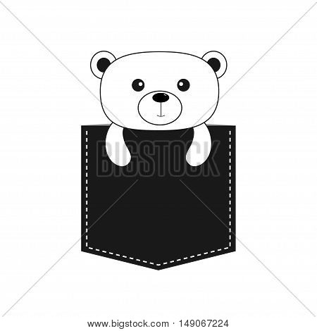 Bear in the pocket. Cute cartoon contour character. Dash line. Forest animal collection. White and black color. T-shirt design. Baby background. Isolated. Flat Vector illustration