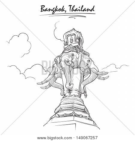 Statue of Elephant in Bangkok. Sketch isolated on white background. EPS10 vector illustration.