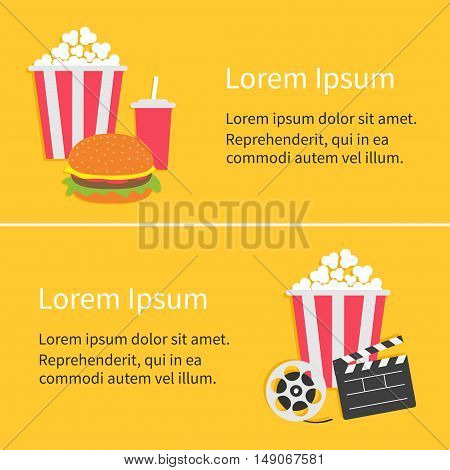 Movie reel Open clapper board Popcorn Cinema icon collection. Flat design style. Yellow background. Vector illustration