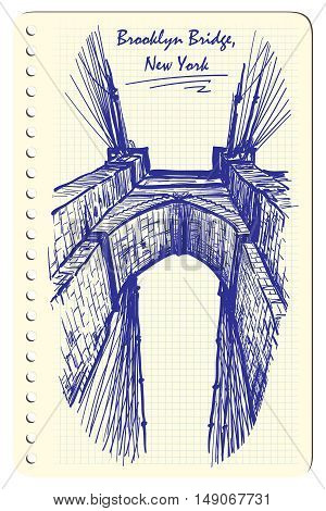 Brooklyn Bridge. Sketch imitating ink pen scribbling in a notepad. Sketch is isolated on a separate layer. EPS10 vector illustration.