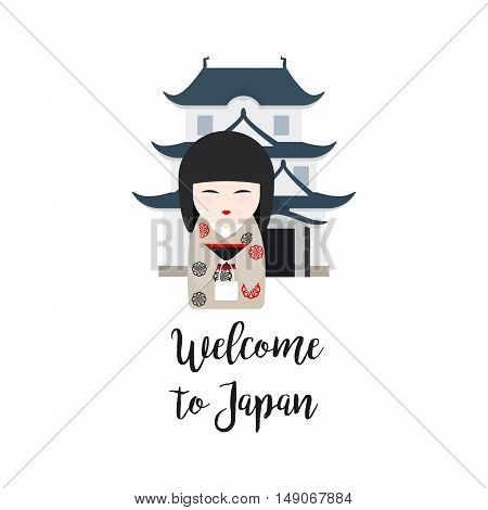 Welcome to Japan. Vector illustration with Japanese Kokeshi Doll