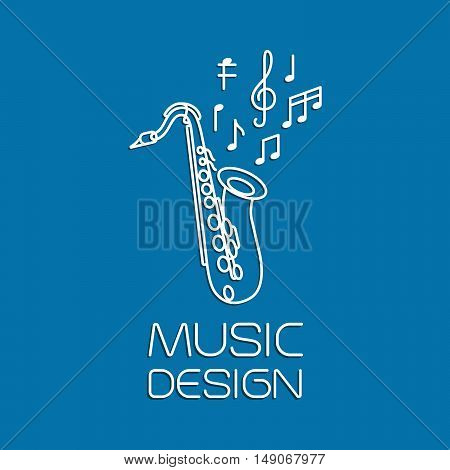Music design with alto saxophone classical instrument. Vector illustration