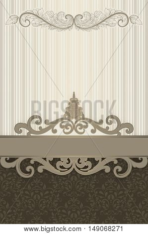 Decorative vintage background with old-fashioned patterns and border.