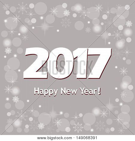 Festive colorful new year`s banner with text Happy New Year 2017 on the grey background and snowflakes. Design for cover calendar new year 2017. eps 10.