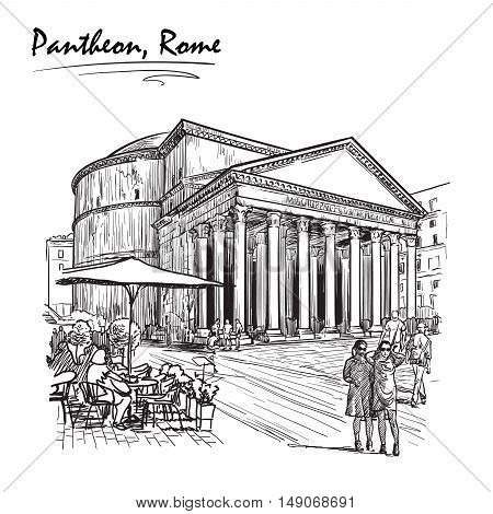 City life scene in Rome. Pantheon and groups of people wandering around. Sketch isolated on white background. EPS10 vector illustration.
