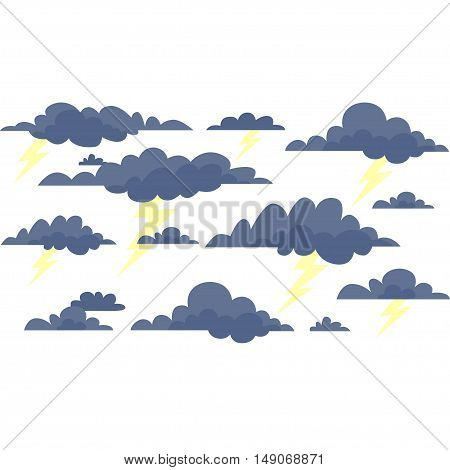 Storm clouds with lightning on a white background. Vector illustration