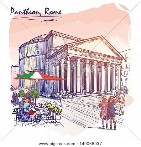 City life scene in Rome. Pantheon and groups of people wandering around. Watercolor imitating painted sketch. EPS10 vector illustration.