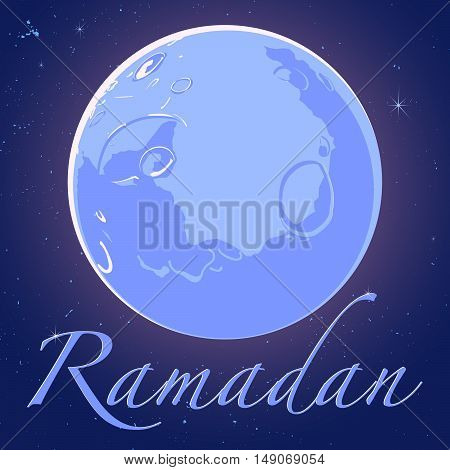 Shiny crescent moon with text Ramadan on blue background, can be use as flyer, banner or poster design for Muslim community festival.