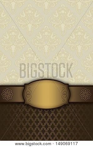 Vintage background with gold decorative borderframe and old-fashioned patterns.