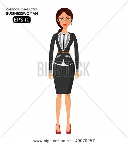 Elegant business woman standing flat cartoon vector illustration. Eps10. Isolated on a white background. Business girl. Business lady.