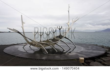 REYKJAVIK ICELAND - SEPTEMBER 15 2016: The Sun Voyager on 15 September 2016 in Reykjavik Iceland. The Sun Voyager it is a characteristic monument on the seafront