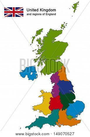 United Kingdom And Regions Of England
