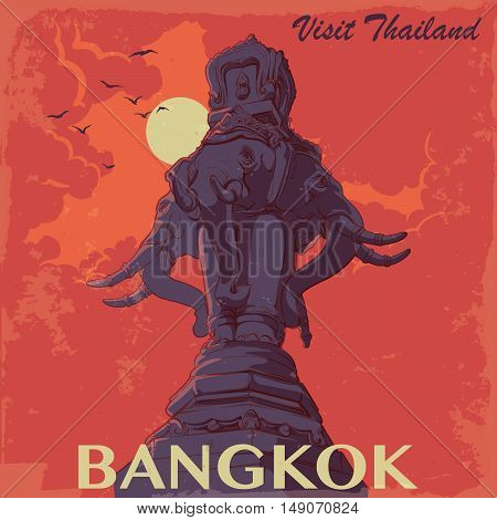 Statue of elephants in Bangkok city. Sunset urban panorama. Warm palette. Vintage poster. Old-fashioned design. EPS10 vector illustration.