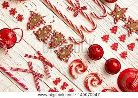 Christmas decoration on wooden background flat lay still life