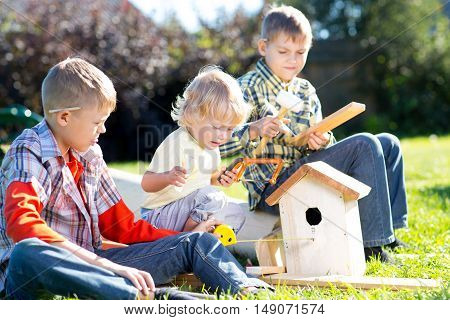 Kids boys brothers play and build birdhouse sitting on green grass