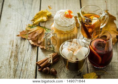 Selection of autumn drinks on wood background, copy space