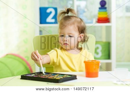 Child girl painting with watercolors at home or school nursery