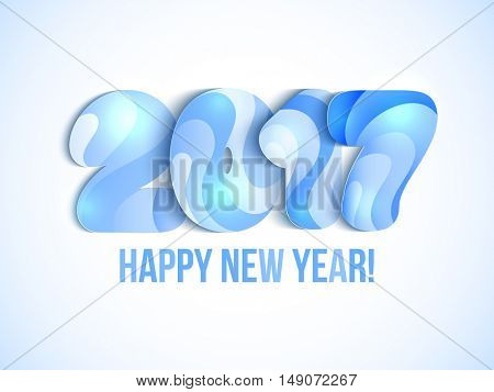 New Year 2017 greeting card. Vector illustration. Blue numbers on white background.