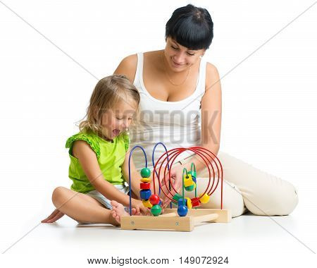 kid and mother playing with educational toy isolated