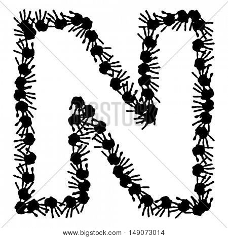 Vector concept or conceptual cute paint human hands or handprints of child font isolated on white background
