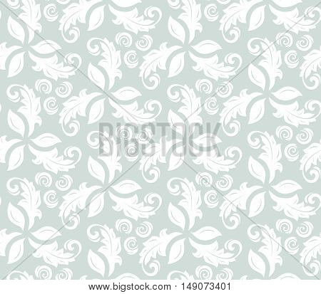 Floral ornament. Seamless abstract classic pattern with flowers. Light blue and white pattern
