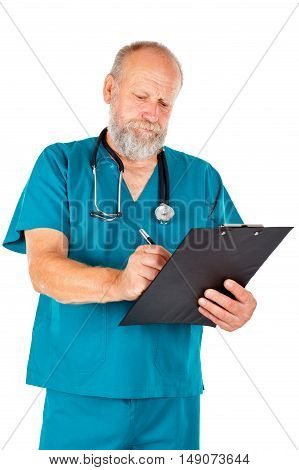 Portrait of a happy male doctor while doing medical check up