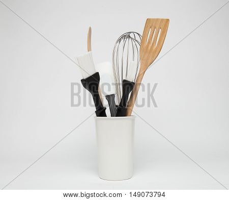 Baking and cooking tools on a white background