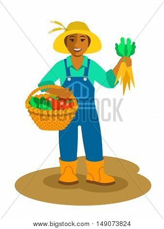 Young friendly smiling black farmer woman stands with vegetables harvest in basket and holds carrots in hand. Vector flat illustration. Female cartoon character. Fresh local organic food concept