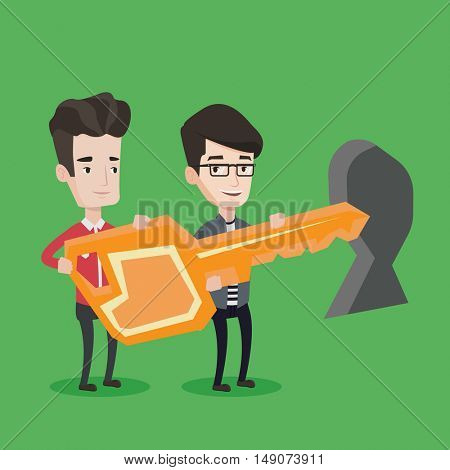 Happy businessmen standing in front of a keyhole with a big key. Business team holding the key to success. Two businessmen carrying huge golden key. Vector flat design illustration. Square layout.