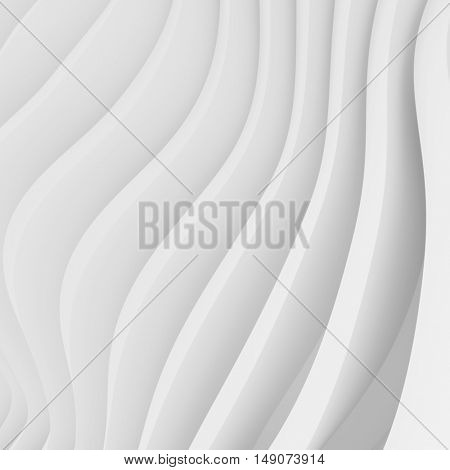 Abstract Architecture Background. White Circular Building. Futuristic Tech Concept. Wave Geometric Design. 3d Render.