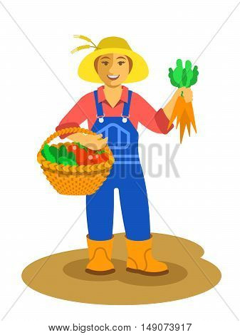 Young friendly smiling farmer woman stands with vegetables harvest in wicker basket and holds carrots in her hand. Vector flat illustration. Female cartoon character. Fresh local organic food concept