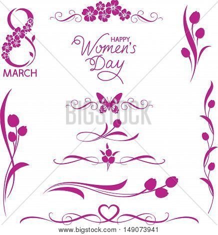 Set of decorative floral elements. 8 March holiday. Women's day lettering. Calligraphic dividers with tulips and flower silhouettes.