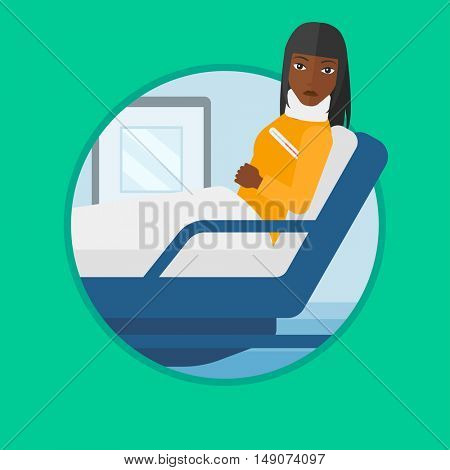 African-american woman suffering from neck pain. Young woman with neck injury lying in bed in hospital ward. Woman with neck brace. Vector flat design illustration in the circle isolated on background