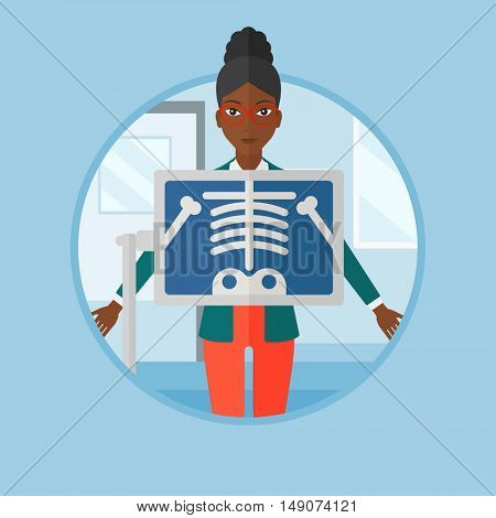 An african patient during chest x ray procedure in examination room. Woman with x ray screen showing his skeleton at doctor office. Vector flat design illustration in the circle isolated on background