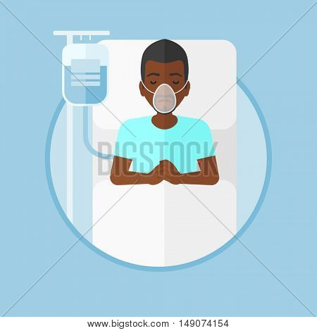 An african-american man lying in hospital bed with oxygen mask. Man during medical procedure with drop counter at medical room. Vector flat design illustration in the circle isolated on background.