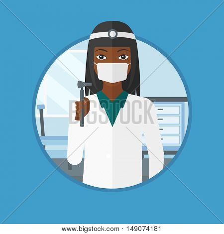 An african ear nose throat doctor standing in the medical office. Doctor with tools used for examination of ear, nose, throat. Vector flat design illustration in the circle isolated on background.