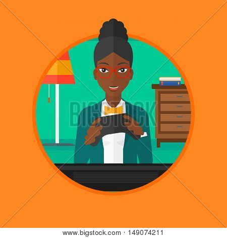 An african happy gamer playing video game on the television. An excited woman with console in hands playing video game at home. Vector flat design illustration in the circle isolated on background.