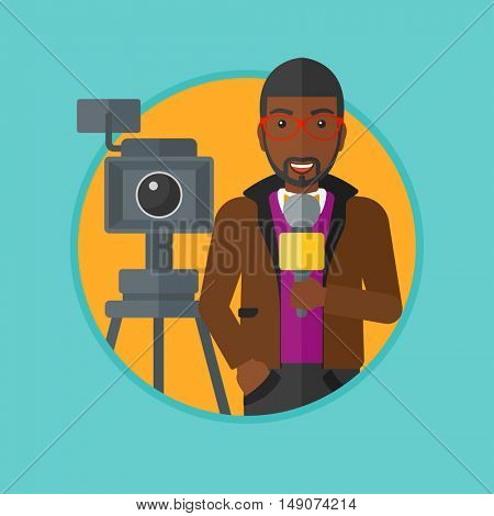 An african-american smiling reporter with microphone standing on the background with camera. TV reporter presenting the news. Vector flat design illustration in the circle isolated on background.