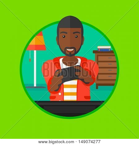 An african happy gamer playing video game on the television. An excited young man with console in hands playing video game at home. Vector flat design illustration in the circle isolated on background