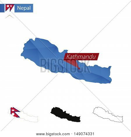 Nepal Blue Low Poly Map With Capital Kathmandu.