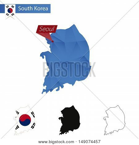South Korea Blue Low Poly Map With Capital Seoul.