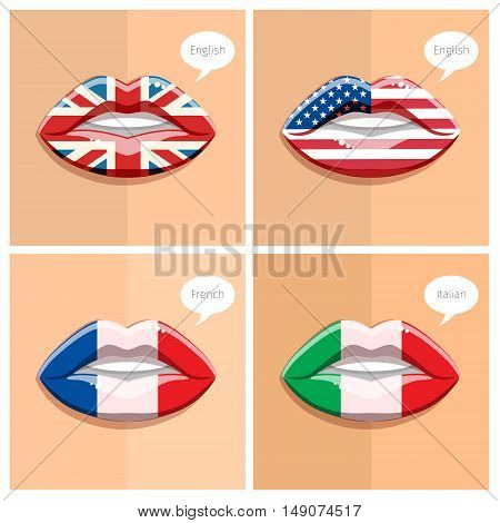 Study languages concept. Glamour lips with make-up of the flags, woman face. Flat design, vector illustration.