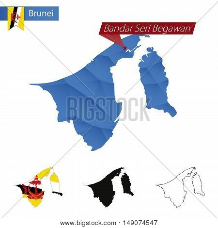 Brunei Blue Low Poly Map With Capital Bandar Seri Begawan.