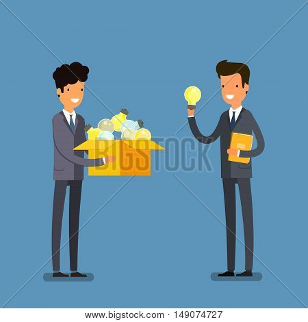 Concept of idea. Two business men with box and light bulb. Flat design, vector illustration.
